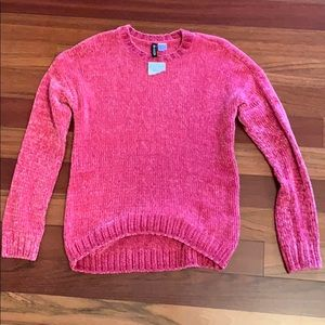 H&M hot pink chenille sweater sz XS